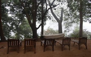 Relaxing on Lounge chairs at Ecomantra Experiential Eco Camp